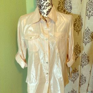 NWT Petite Shimmer Pink button down